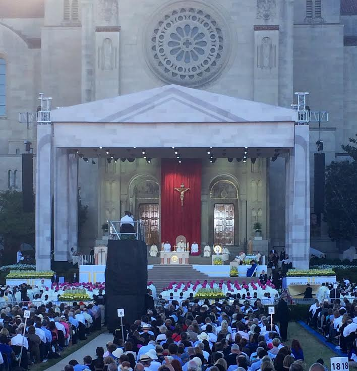 Over 25,000 people attended the Papal Mass Last Wednesday, September 23, 2015 in honor of the Canonization of St. Junipero Serra. The Mass was held on the lawn of the Basilica of the National Shrine of the Immaculate Conception. Photo Credit: Antoinette Cea/Tower staff