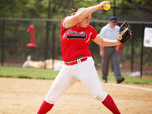 Sophomore pitcher Megan Colline gave up just 2 runs in her complete game win in game 2 of the doubleheader.