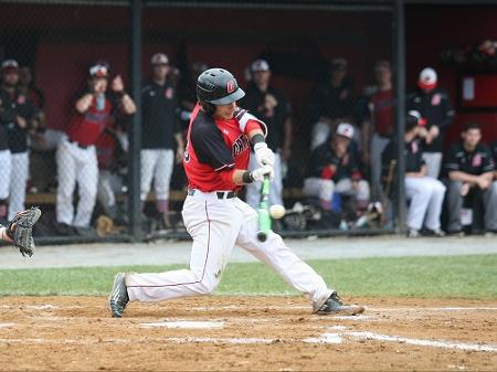 Senior John Palladino hit a three run home-run against St. Mary's. Courtesy of CUACardinals.com