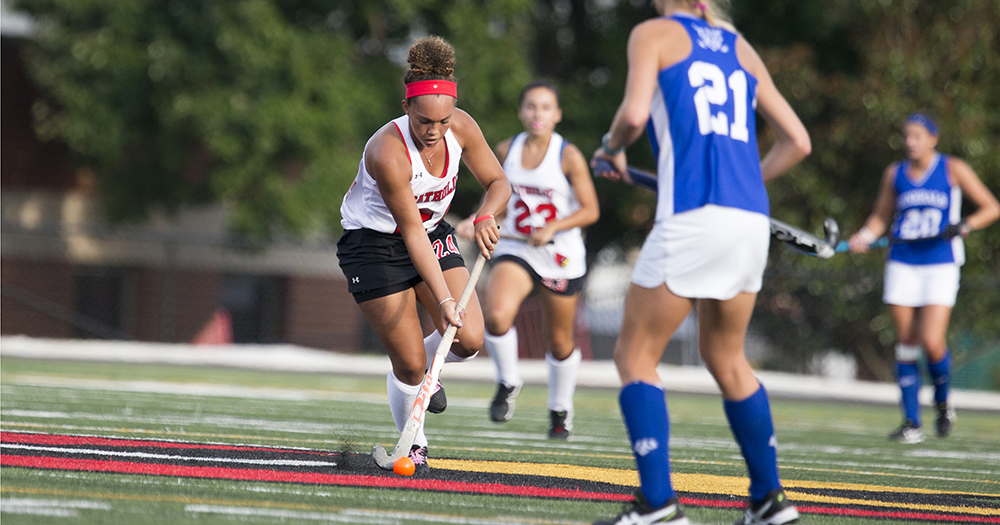Junior Rachel Day looks for an open teammate at midfield - Courtesy of CUACardinals.com