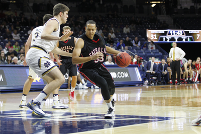 Sophomore Andrew Wade drives into the paint. Courtesy of cuacardinals.com