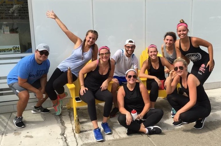 CUA students after their spin cycling classes. Courtesy of Natalie Hurst