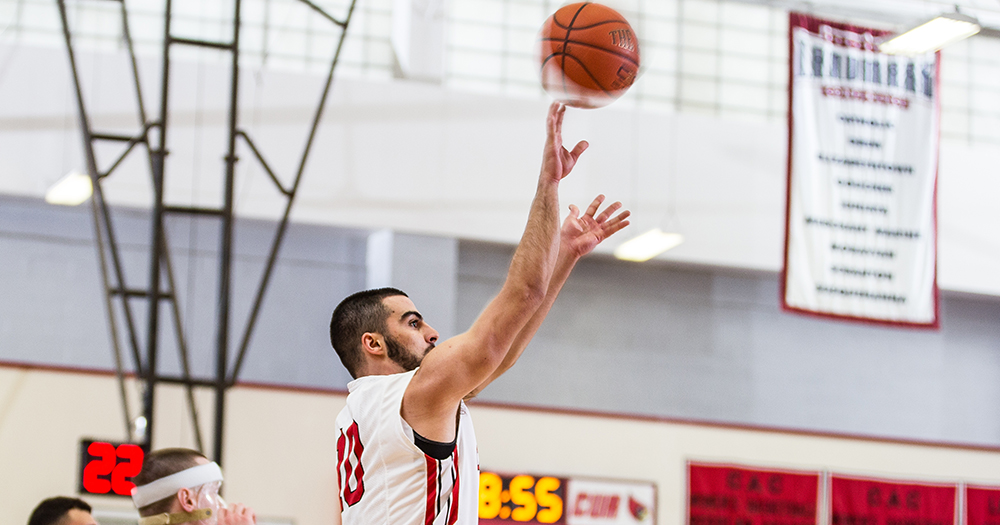 Senior guard Louis Khouri made six three-pointers in the game against Drew. Courtesy of CUACardinals.com